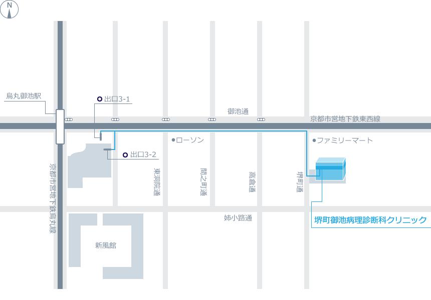 医療法人堺町御池病理診断科クリニックアクセスマップ画像